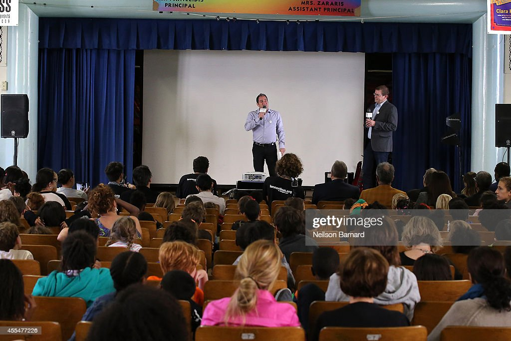 Charly Schwartz, Chief Operating Officer, Little Kids Rock speaks on stage during the John Lennon Educational Tour Bus Event at P.S. 171 Patrick Henry School on September 15, 2014 in New York City.