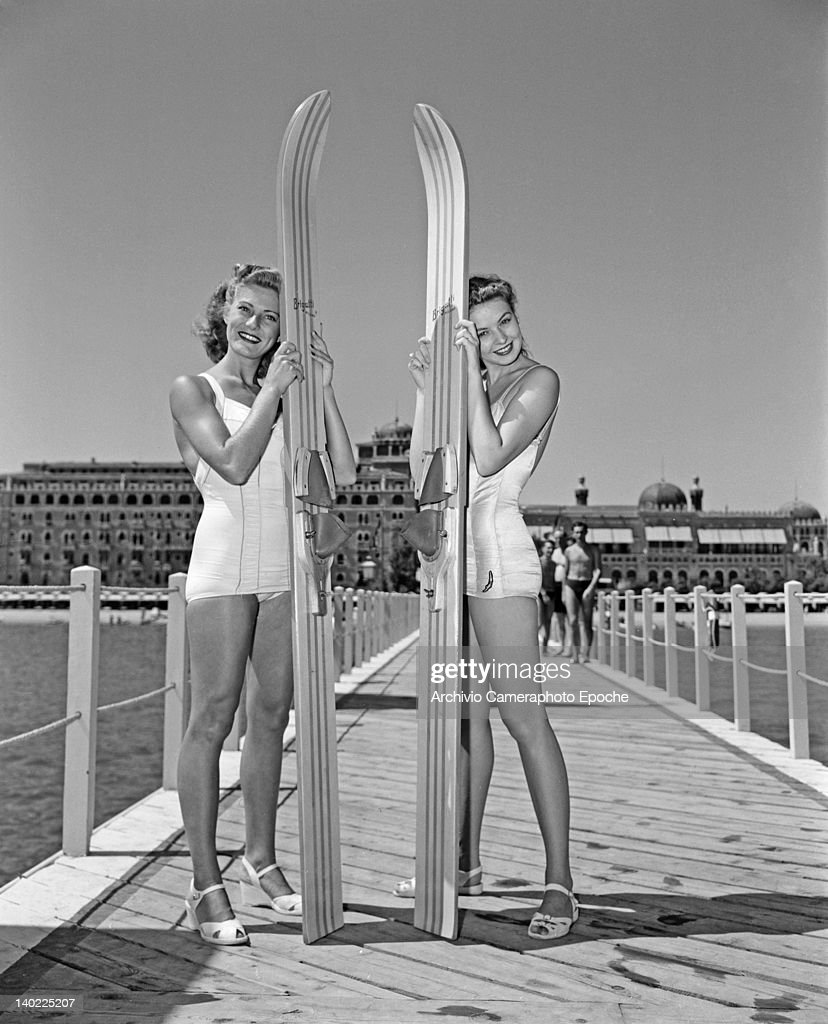 Charmaine Casey and Mitzi Hunter two of the Merriel Abbott Dancers pose in front of the Hotel Excelsior on the Venice Lido Italy 1950