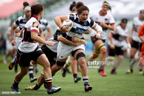 Charmaine McMenamin of Auckland makes a break during the round five Farah Palmer Cup match between North Harbour and Auckland at QBE Stadium on...