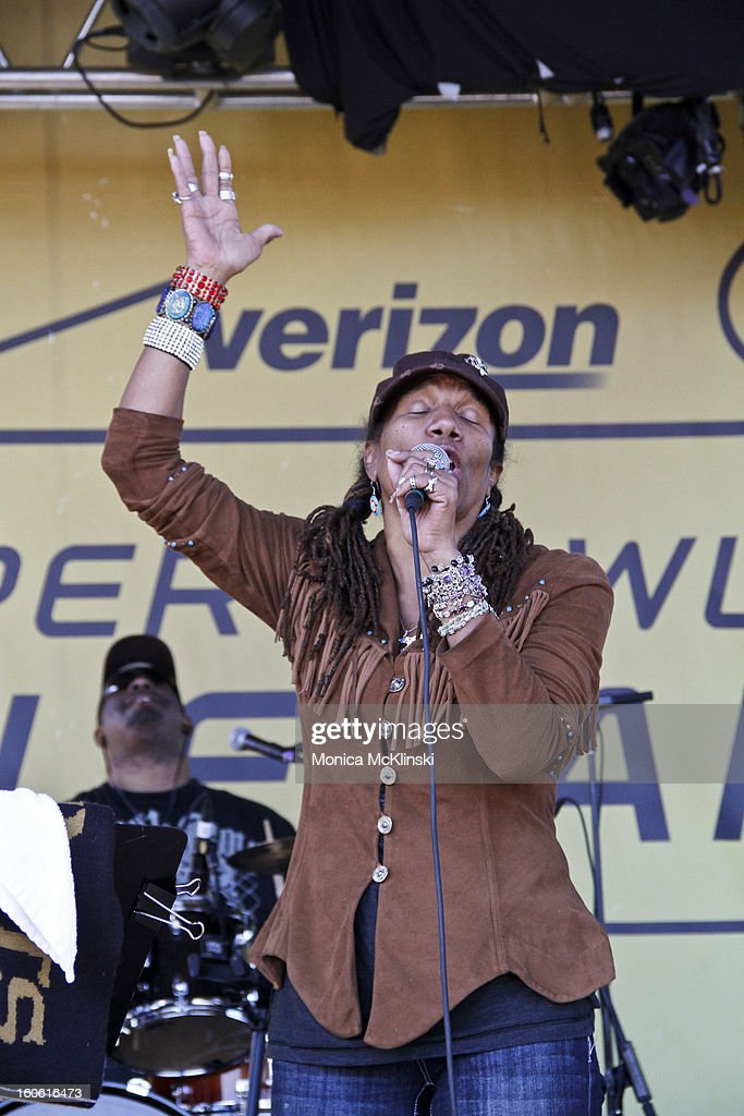 Charmaine Neville performs during the Verizon Super Bowl Boulevard at Woldenberg Park on February 3, 2013 in New Orleans, Louisiana.