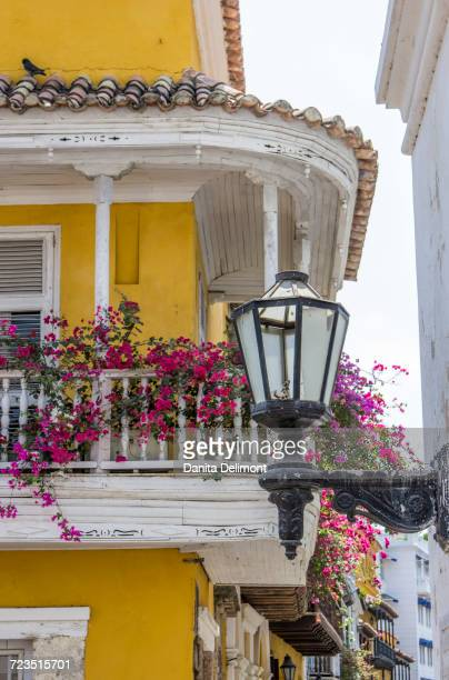 Charming balconies in old walled city of Cartagena, Colombia