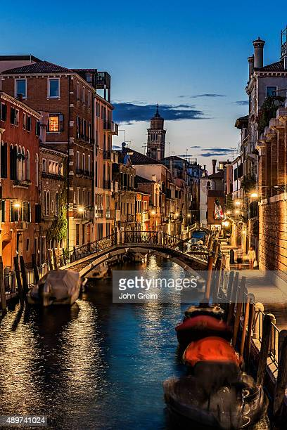 Charming canal and Venitian architecture at dusk