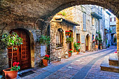 beautiful flower decorated streets of old towns in Italy