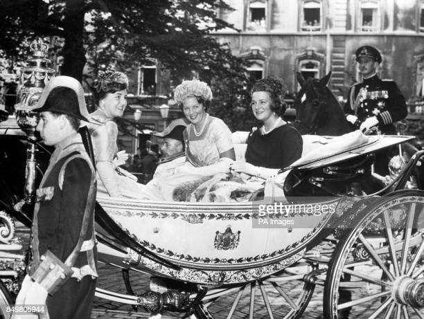 Charming smiles from the Dutch princesses Princess Margriet Princess Beatrix and Princess Irene after they arrive at the Hall of Knights at The Hague...