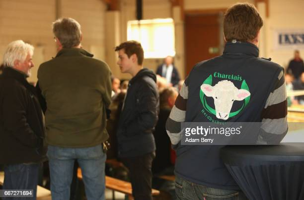 Charolais cattle breeder watches an annual heifer auction on April 11 2017 in Gross Kreutz Germany Around 80 Angus Charolais Hereford Uckermärker...