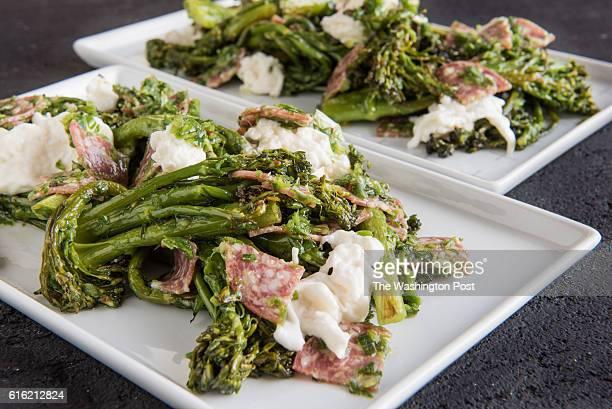 Charred Broccolini With Salami and Burrata
