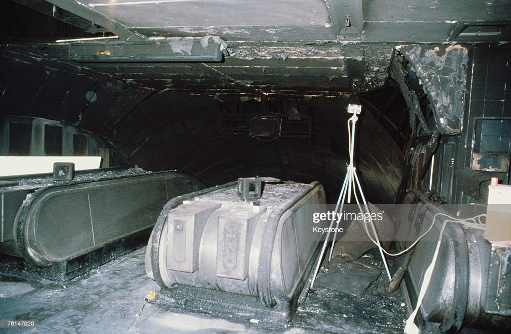 A charred escalator at King's Cross Underground Station after the fire of 18th November 1987, in which 31 people died.
