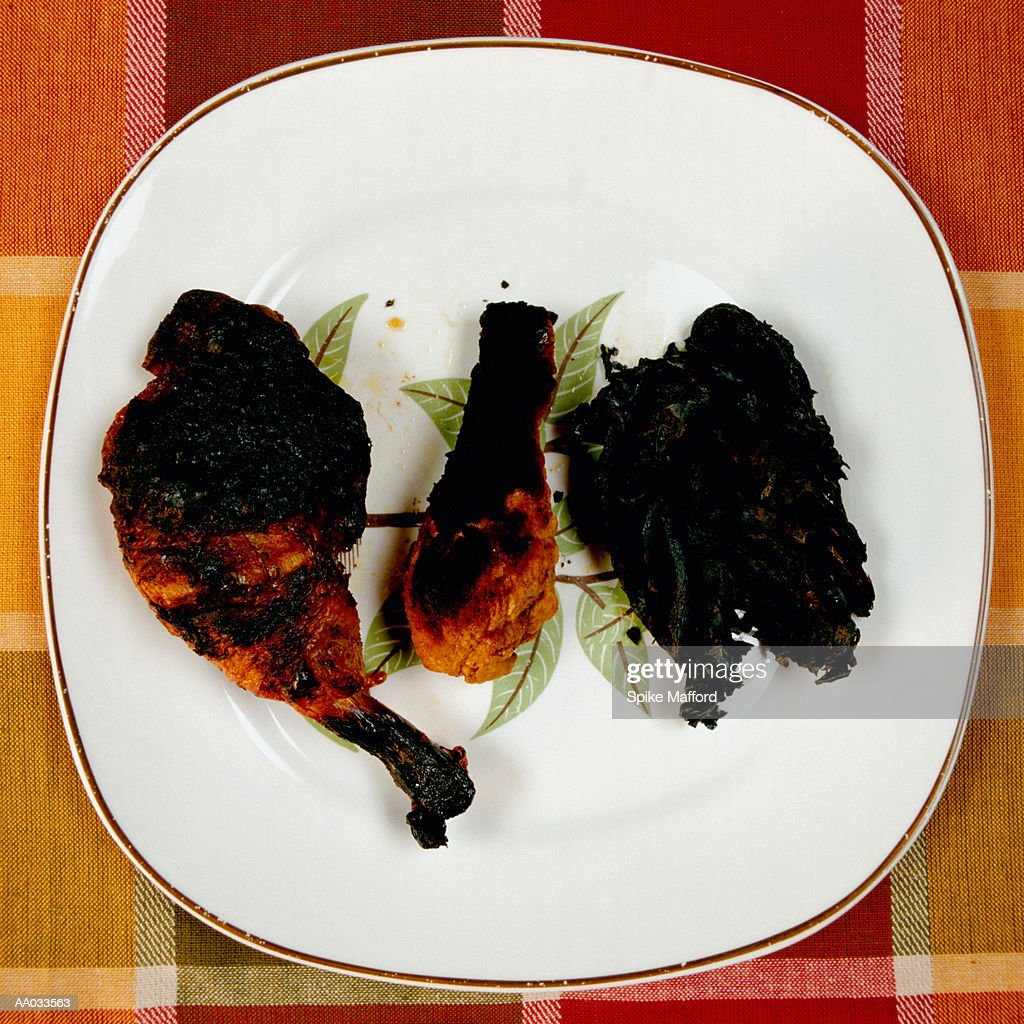 Charred Fowl on Plate