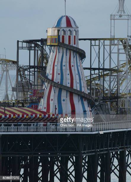 Charred remains of the roller coaster ride on Brighton Palace Pier in West Sussex following a fire on the structure last night An investigation was...