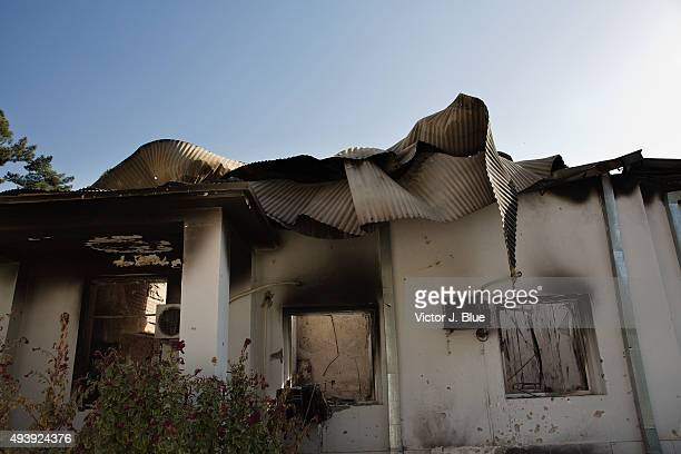 A charred roof on October 14 in Kunduz Afghanistan from the US airstrike on the Medecins Sans Frontieres hospital in Kunduz that took place on...