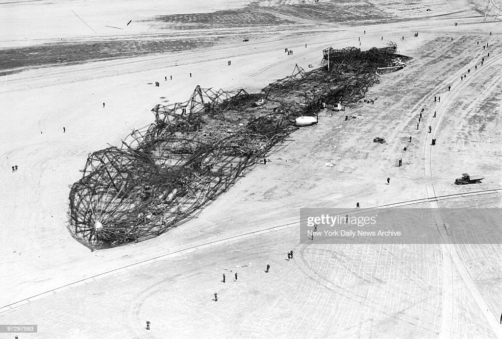 Charred skeleton of the Hindenburg dirigible remains on the airstrip in Lakehurst, N.J., on the day after it exploded and burned.