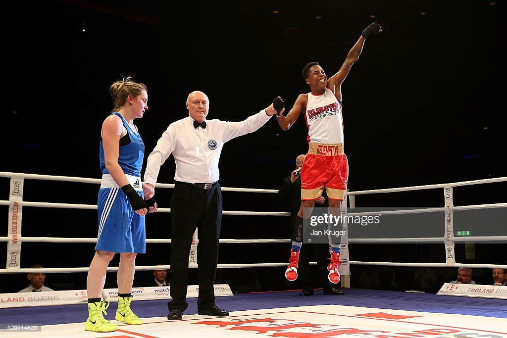 Charrelle Brown(R) the win over Paige Murney in their over 64kg final bout during day three of the Boxing Elite National Championships at Echo Arena on May 01, 2016 in Liverpool, England.