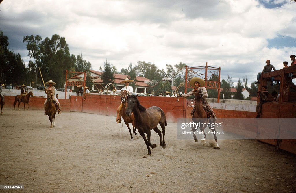 Charro's rope a horse in the Caletilla Bull fighting ring in AcapulcoMexico