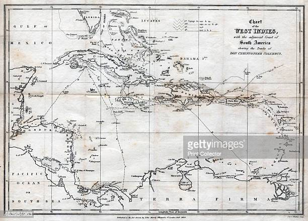 Chart of the West Indies with the adjacent Coast of South America 1830 Map of the Caribbean showing the tracks of Christopher Columbus