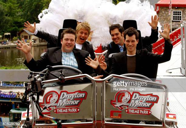 Chart topping 'popera' group G4 Matt Stiff Michael Christie Jon Ansell and Ben Thapa launch the 3 million rollercoaster G Force the first ride in the...