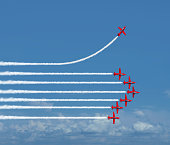 Charting a different path business concept as an independent free thinker idea with air show jet airplanes in an organized formation with one individual plane setting a new course with 3D illustration