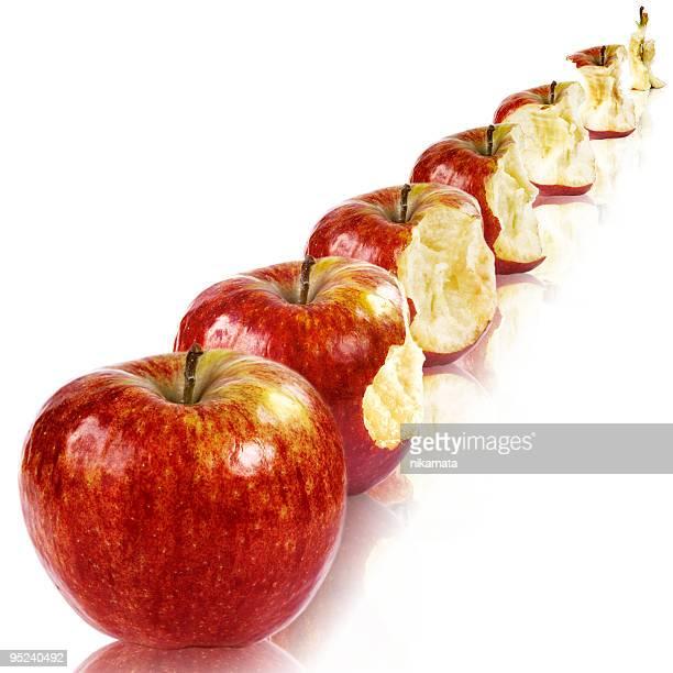 Représentant une chronologie de manger une pomme
