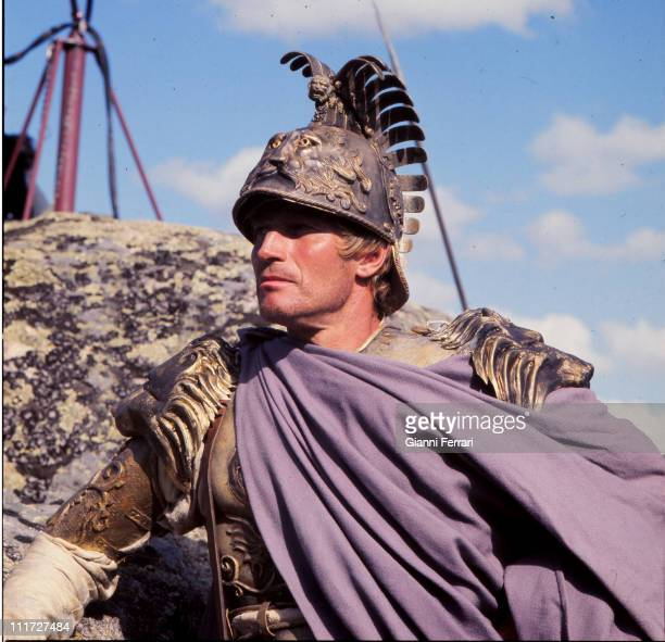 Charton Heston during the filming of the movie 'Julius Caesar' Madrid Spain