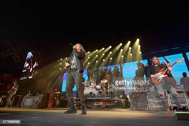 Charttopping band Mana Juan Calleros Fher Olvera Alex Gonzalez and Sergio Vallin performed at the Staples Center on the Los Angeles stop of their...