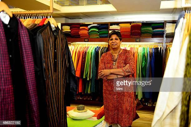 Charu Sharma director of FabIndia at a Fabindia storeon August 16 2014 in New Delhi India