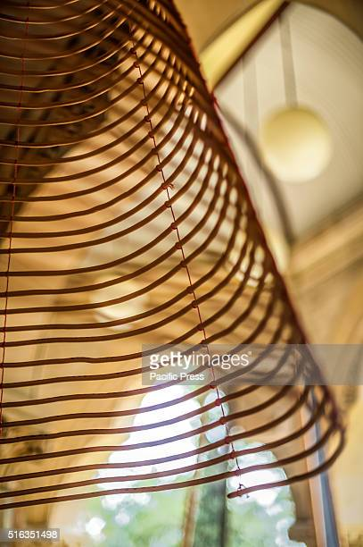 ISLAND SYDNEY NSW AUSTRALIA Charwei Tsai's 'Spiral Incense Mantra' handinscribed spiral incenses on display at the Mortuary Station The Embassy of...