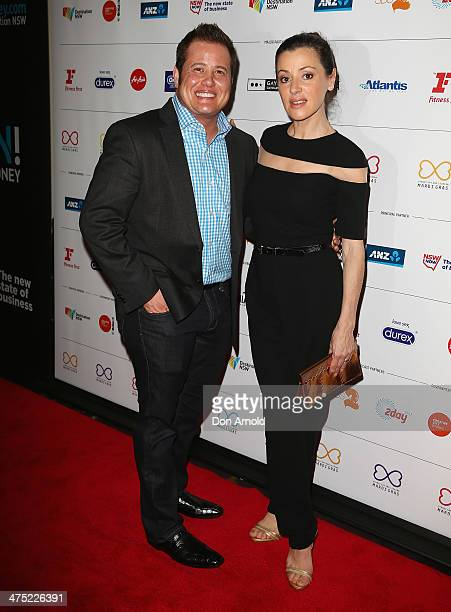 Chas Bono and Tina Arena arrive at the 2014 Sydney Gay Lesbian Mardi Gras VIP Party on February 27 2014 in Sydney Australia
