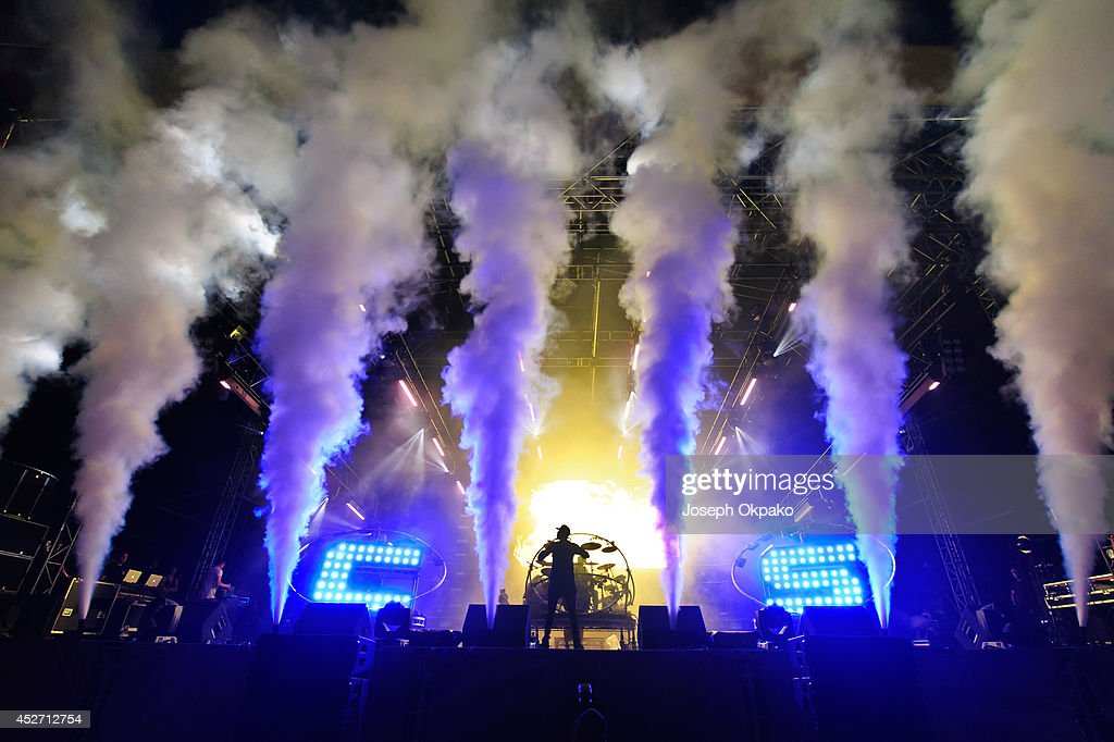 Chase and Status performs on stage at Global Gathering at Long Marston Airfield on July 25 2014 in StratforduponAvon United Kingdom