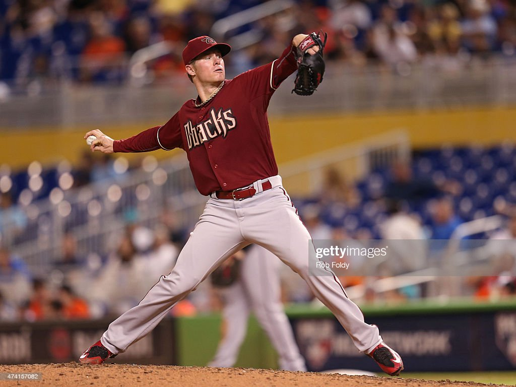 Chase Anderson #57 of the Arizona Diamondbacks piches during the game against the Miami Marlins at Marlins Park on May 20, 2015 in Miami, Florida.