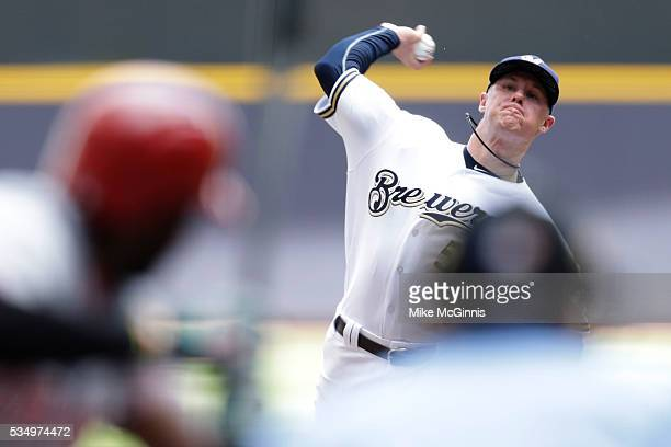 Chase Anderson of the Milwaukee Brewers pitches during the first inning against the Cincinnati Reds at Miller Park on May 28 2016 in Milwaukee...