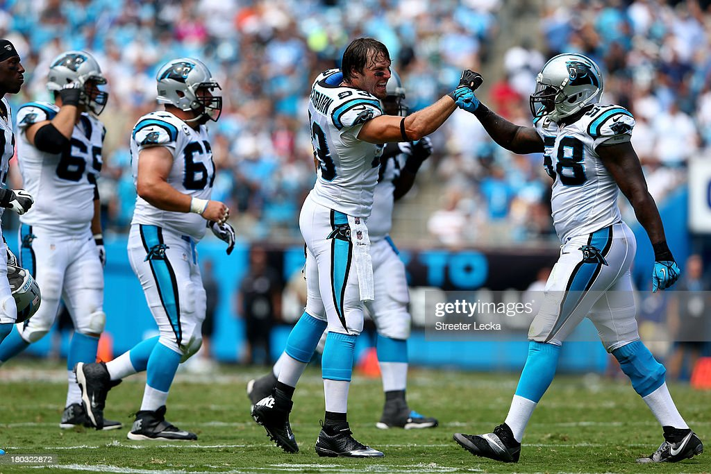 Chase Blackburn of the Carolina Panthers during their game at Bank of America Stadium on September 8 2013 in Charlotte North Carolina