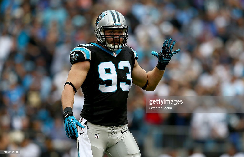 Chase Blackburn of the Carolina Panthers during their game at Bank of America Stadium on December 22 2013 in Charlotte North Carolina