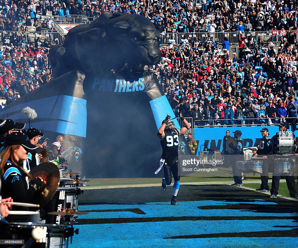 Chase Blackburn of the Carolina Panthers is introduced before the NFC Divisional Playoff Game against the San Francisco 49ers at Bank of America...