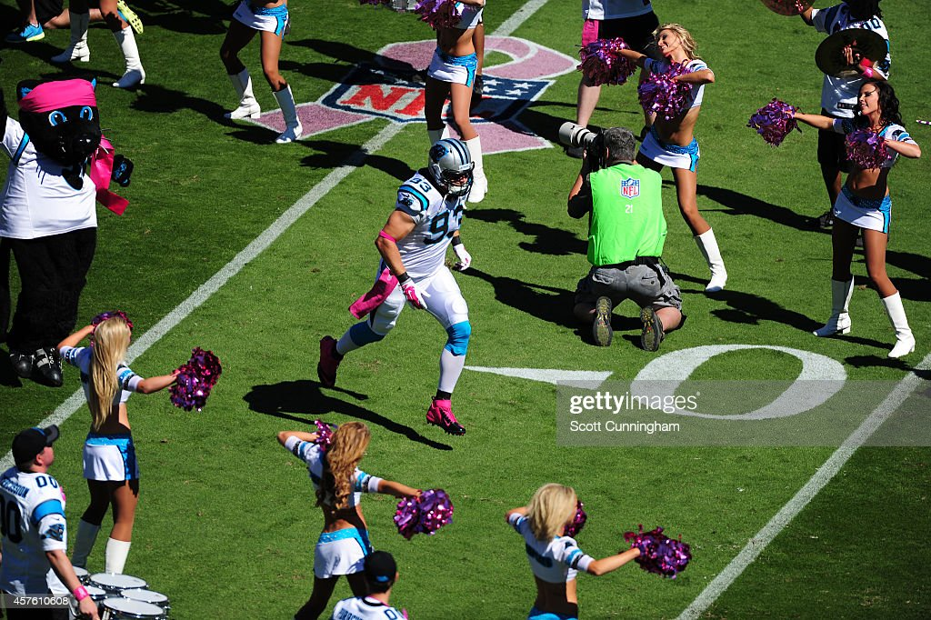 Chase Blackburn of the Carolina Panthers is introduced before the game against the Chicago Bears on October 5 2014 at Bank of America Stadium in...