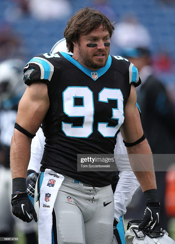 Chase Blackburn of the Carolina Panthers warms up before NFL game action against the Buffalo Bills at Ralph Wilson Stadium on September 15 2013 in...