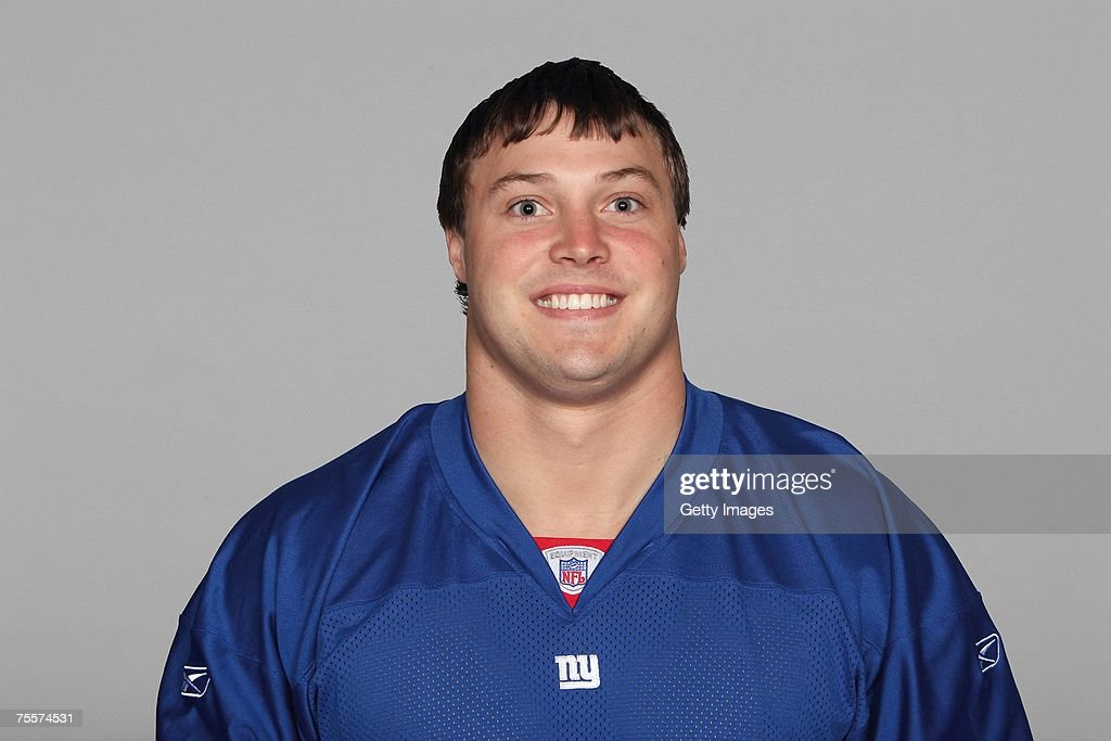 Chase Blackburn of the New York Giants poses for his 2007 NFL headshot at photo day in East Rutherford New Jersey