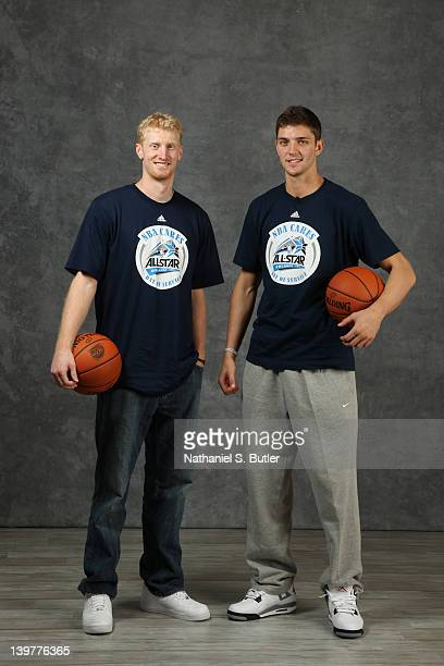 Chase Budinger and Chandler Parsons of the Houston Rockets pose for portraits during the NBAE Circuit as part of 2012 AllStar Weekend at the Hilton...