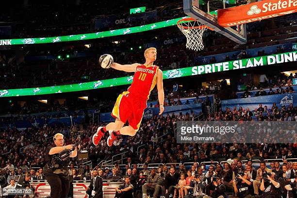 Chase Budinger of the Houston Rockets dunks during the Sprite Slam Dunk Contest part of 2012 NBA AllStar Weekend at Amway Center on February 25 2012...