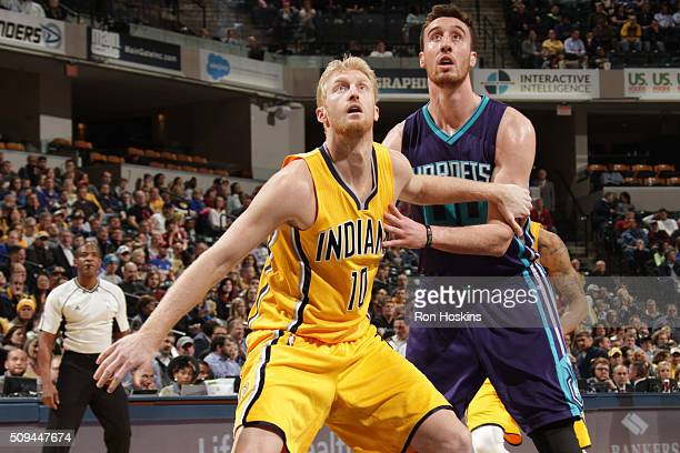 Chase Budinger of the Indiana Pacers defends the basket against the Charlotte Hornets during the game on February 10 2016 at Bankers Life Fieldhouse...