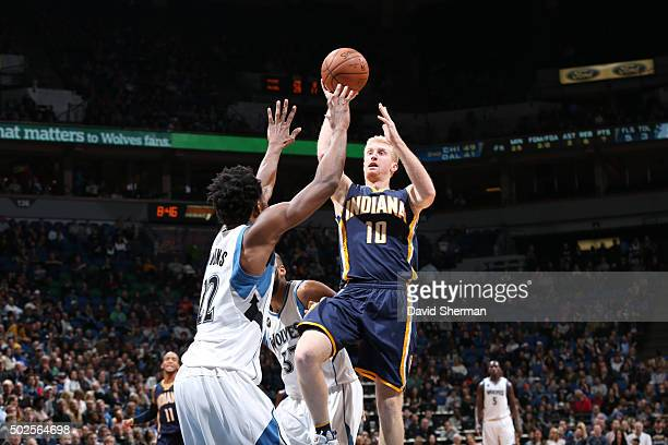 Chase Budinger of the Indiana Pacers goes to the basket against the Minnesota Timberwolves on December 26 2015 at Target Center in Minneapolis...