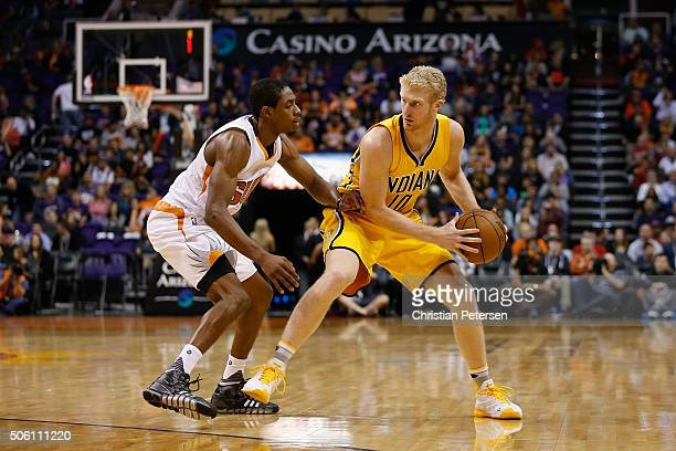 Chase Budinger of the Indiana Pacers handles the ball during the second half of the NBA game against the Phoenix Suns at Talking Stick Resort Arena...