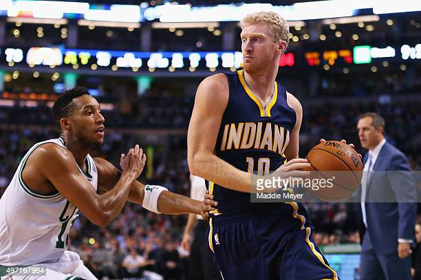 Chase Budinger of the Indiana Pacers is defended by Evan Turner of the Boston Celtics at TD Garden on November 11 2015 in Boston Massachusetts NOTE...