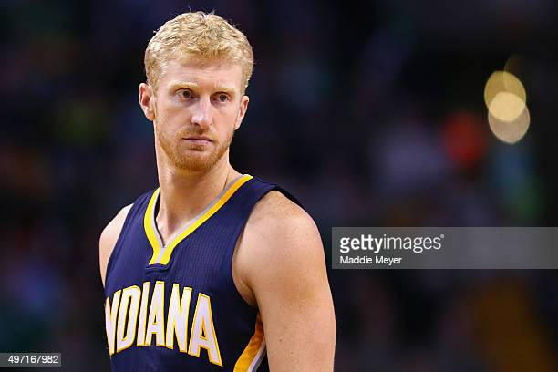 Chase Budinger of the Indiana Pacers looks on during the game against the Boston Celtics at TD Garden on November 11 2015 in Boston Massachusetts...