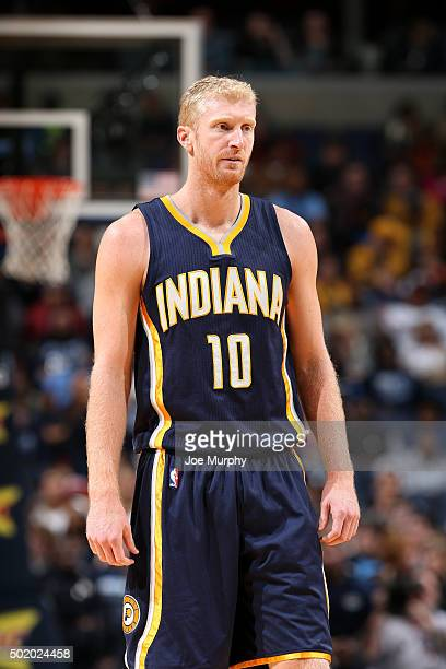 Chase Budinger of the Indiana Pacers looks on during the game against the Memphis Grizzlies on December 19 2015 at FedExForum in Memphis Tennessee...