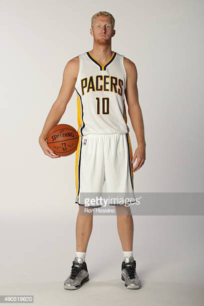 Chase Budinger of the Indiana Pacers poses for a portrait during the Indiana Pacers media day at Bankers Life Fieldhouse on September 28 2015 in...