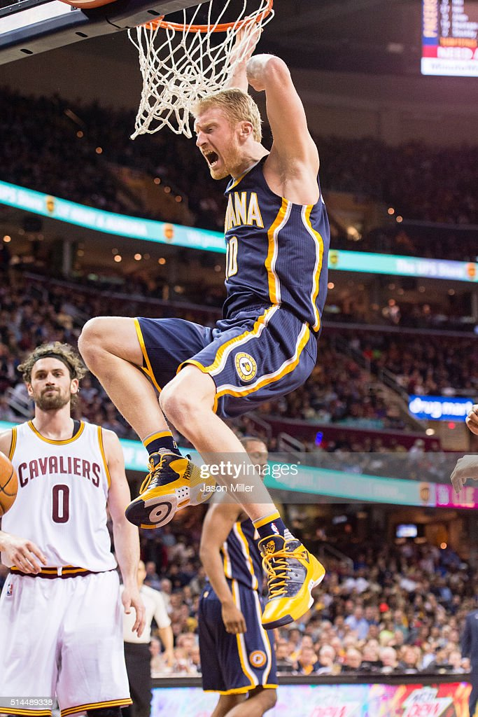 <a gi-track='captionPersonalityLinkClicked' href=/galleries/search?phrase=Chase+Budinger&family=editorial&specificpeople=3847600 ng-click='$event.stopPropagation()'>Chase Budinger</a> #10 of the Indiana Pacers reacts after dunking during the first half against the Cleveland Cavaliers at Quicken Loans Arena on February 29, 2016 in Cleveland, Ohio.