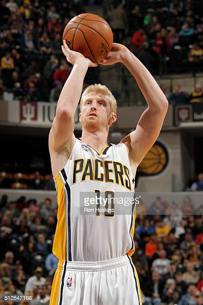 Chase Budinger of the Indiana Pacers shoots a free throw during the game against the Charlotte Hornets on February 26 2016 in Indianapolis Indiana...