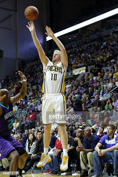 Chase Budinger of the Indiana Pacers shoots against the Charlotte Hornets on October 22 2015 at Allen County War Memorial Coliseum in Fort Wayne...