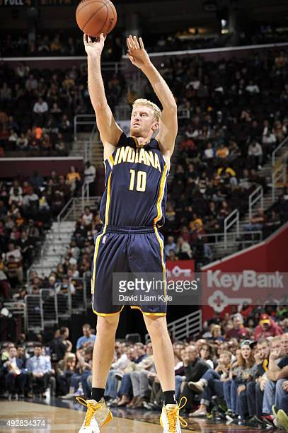 Chase Budinger of the Indiana Pacers shoots against the Cleveland Cavaliers on October 15 2015 at Quicken Loans Arena in Cleveland Ohio NOTE TO USER...