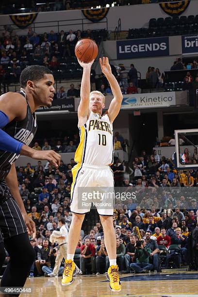 Chase Budinger of the Indiana Pacers shoots the ball against the Orlando Magic on November 9 2015 at Bankers Life Fieldhouse in Indianapolis Indiana...