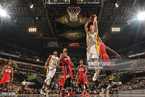Chase Budinger of the Indiana Pacers shoots the ball against the Washington Wizardson January 15 2016 at Bankers Life Fieldhouse in Indianapolis...